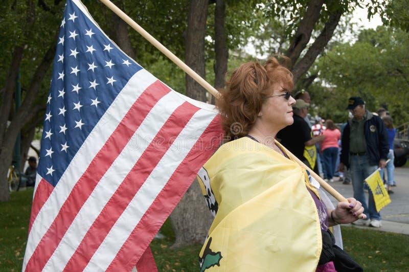 Patriota del partido de té que lleva el indicador de los E.E.U.U., Denver fotos de archivo libres de regalías