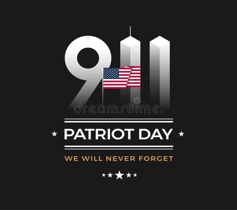 Patriota dnia 9/11 Pamiątkowa ilustracja z usa flaga, 911 Patrio royalty ilustracja