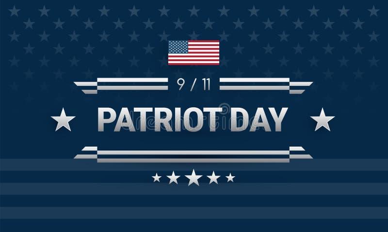 Patriota dnia 9/11 potężny projekt Zmrok - błękitny tło z Zlanym royalty ilustracja