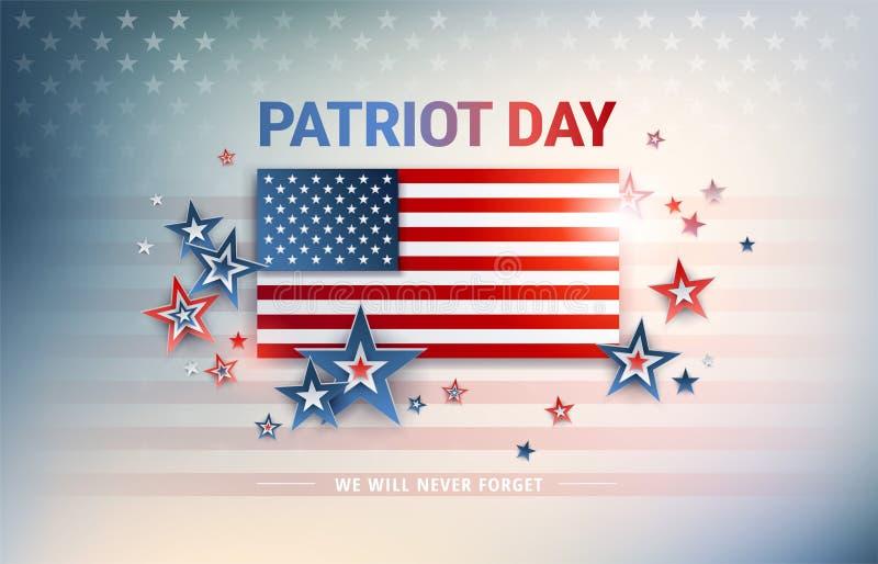 Patriota dnia usa flaga wektorowy tło z Stany Zjednoczone flaga ilustracja wektor