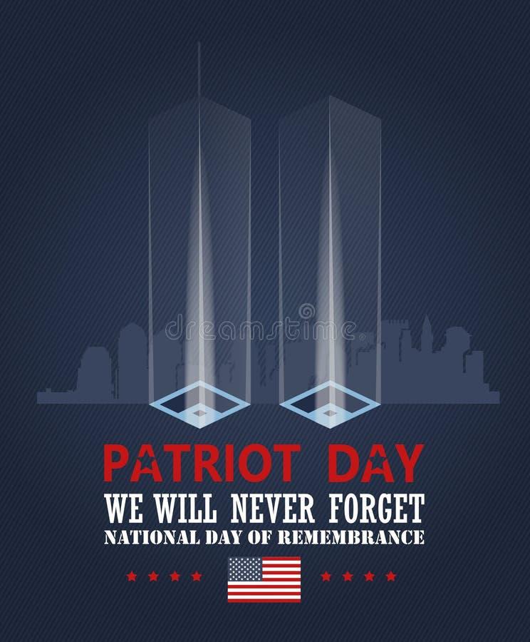 Patriota dnia wektoru plakat Patriota dnia pomnik Wrzesień 11 9 / 11 z bliźniaczymi wieżami ilustracja wektor