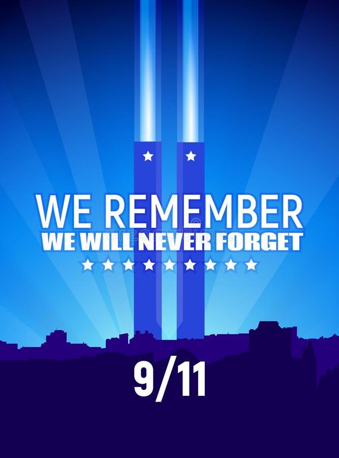 Patriota dzień, Wrzesień 11 Wektorowa ilustracja, błękit barwi z teksta i bielu gwiazdami ilustracja wektor