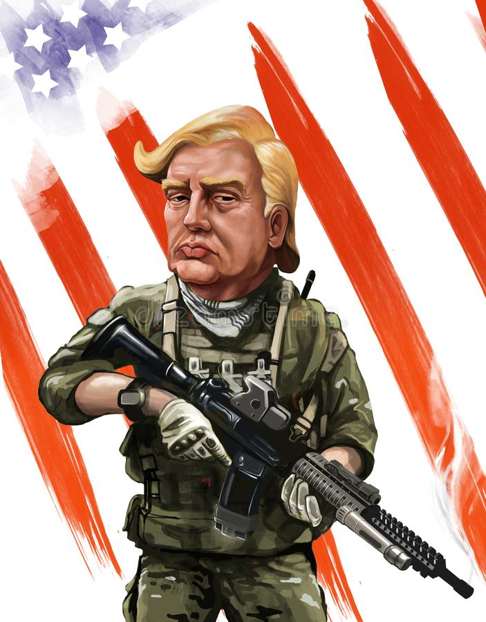 Patriota kreskówki o temacie portret Donald Tump - Ilustrujący obok