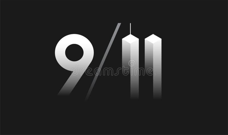 9/11 Patriotdag, 11 September vectorillustratie - 9/11 memori royalty-vrije illustratie