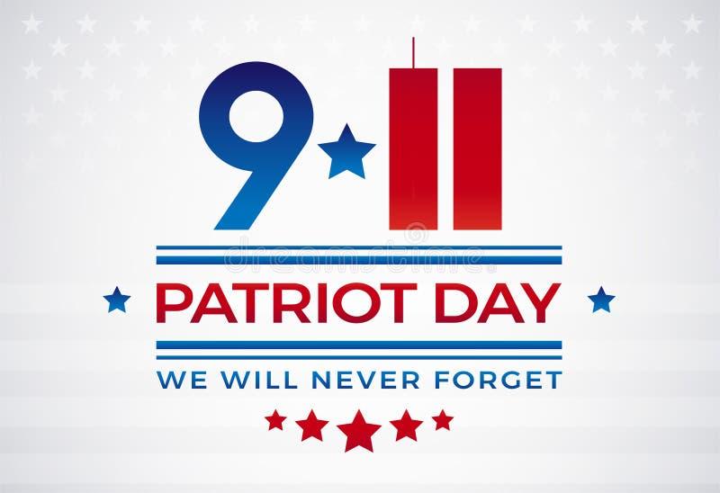 9/11 patriotdag USA September 11, ska vi glömma aldrig textvec stock illustrationer