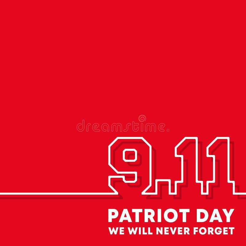 9 11 patriotdag - wij zullen nooit achtergrondontwerp voor vlieger, affiche, herdenkingskaart, brochuredekking, typografie verget royalty-vrije illustratie