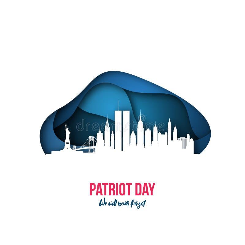 Patriotdag - wij zullen nooit de horizon 11 September, 2001 van New York vergeten vector illustratie