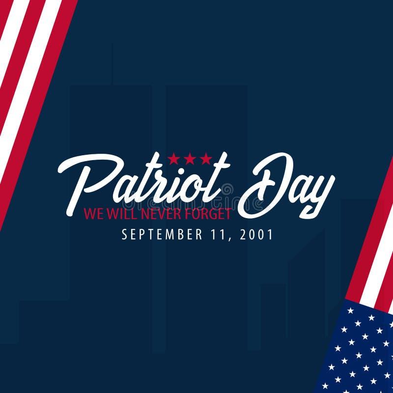 Patriotdagbakgrund September 11 Vi ska glömma aldrig vektor illustrationer