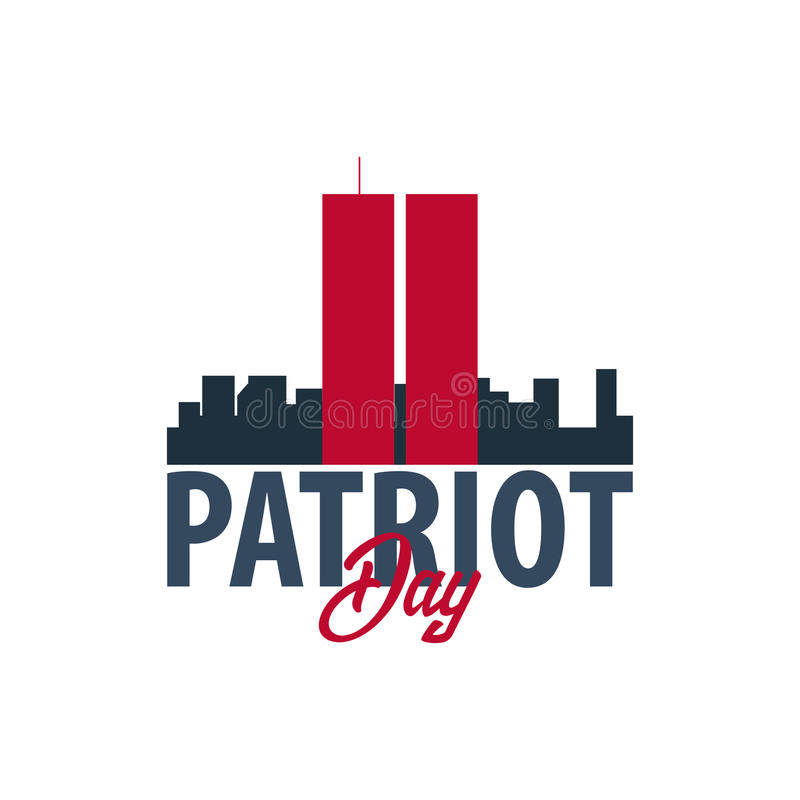 Patriotdagemblem eller logo September 11 Vi ska glömma aldrig stock illustrationer