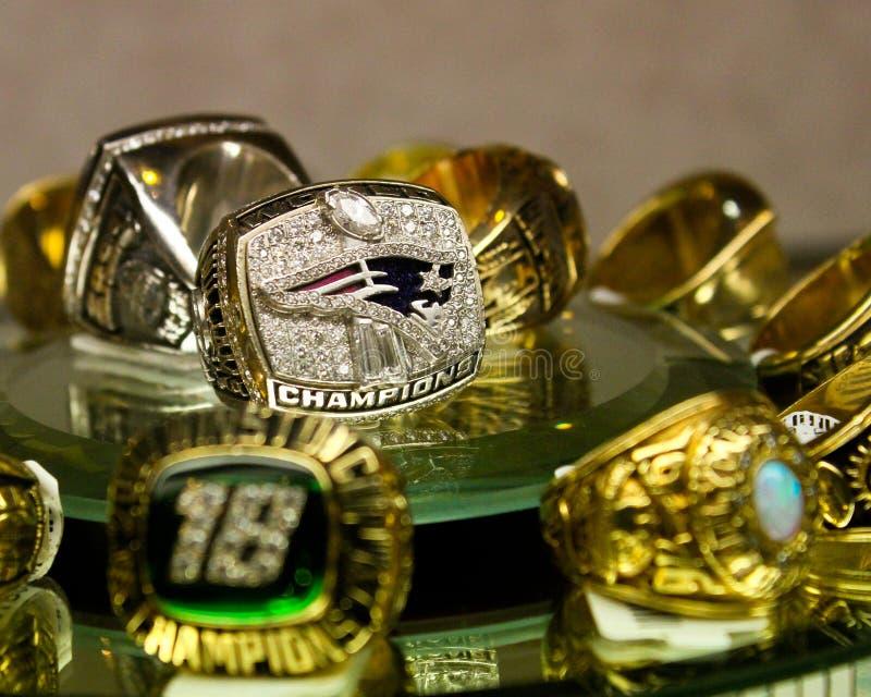 Patrioten Superbowl-Ring stockfoto