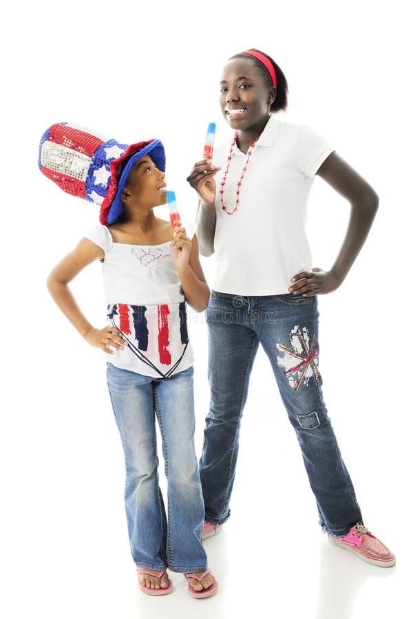 Patrioti con Popcicles fotografie stock
