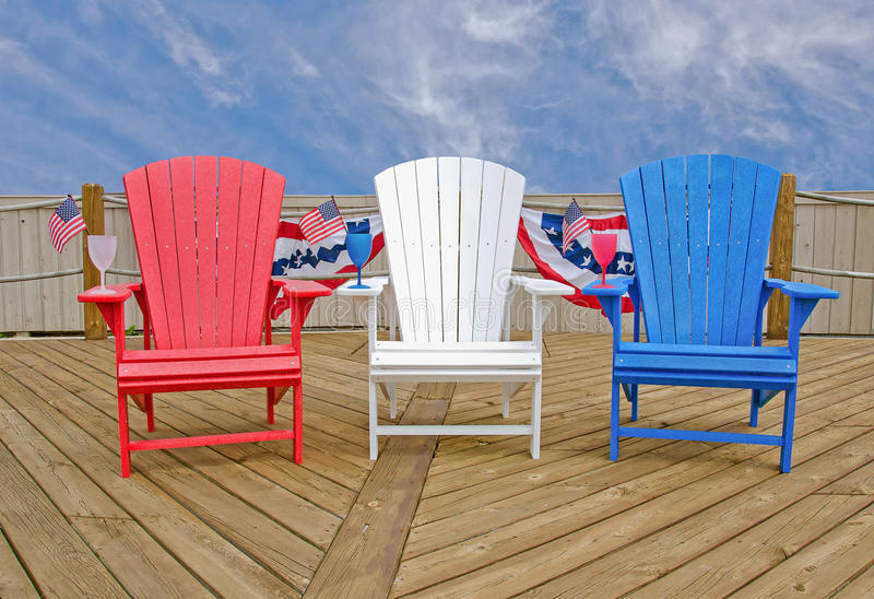 Patriotic Adirondack Chairs Stock Image Image Of Bright
