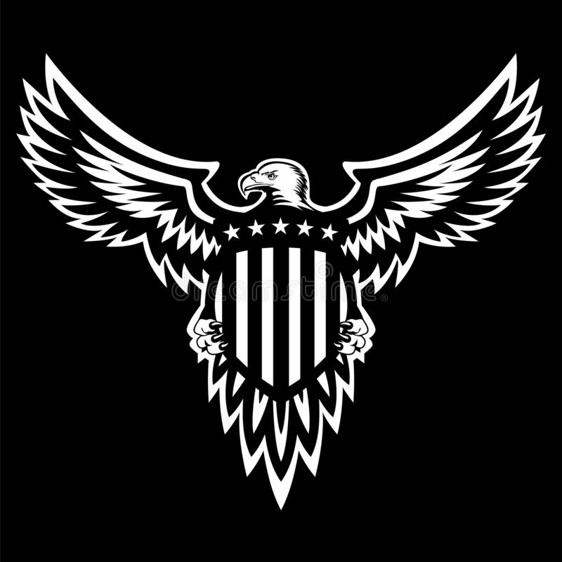 Patriotic American Eagle Vector Illustration, Wings Spread, Holding Shield vector illustration