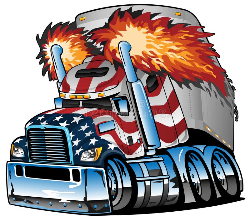 Patriotic American Flag Semi Truck Tractor Trailer Big Rig Cartoon Isolated Vector Illustration. Awesome big rig diesel tractor trailer cartoon illustration royalty free illustration
