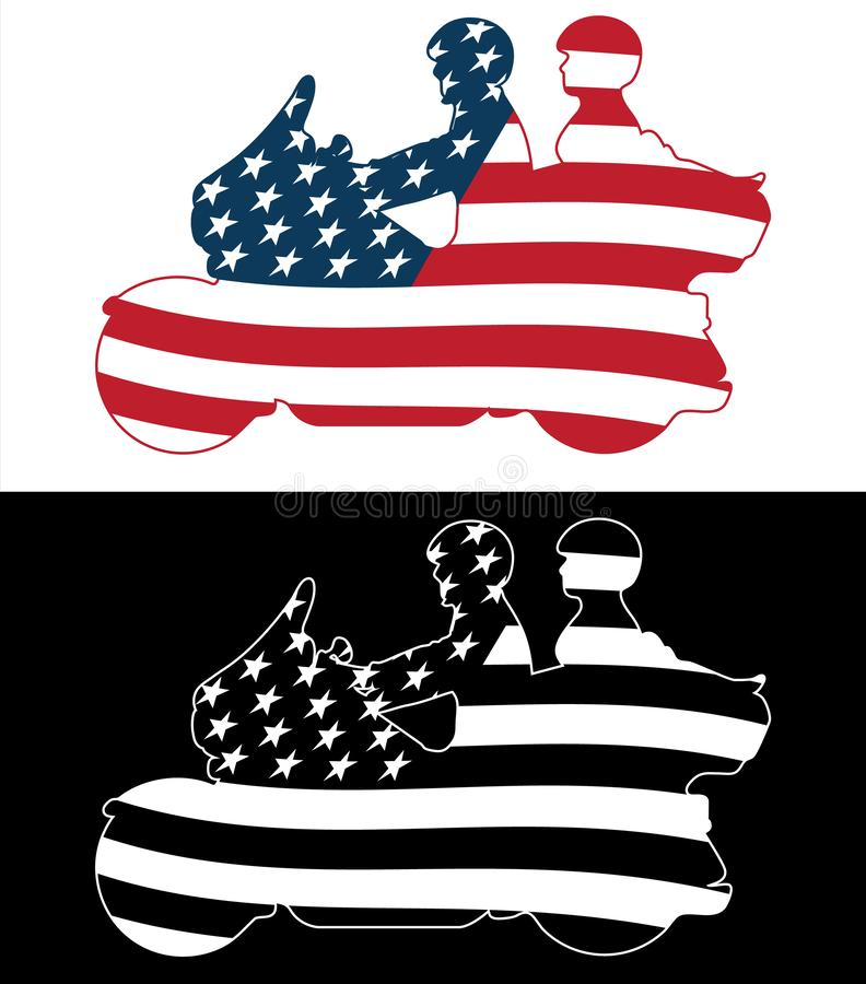 Patriotic American Flag Touring Motorcycle Isolated Silhouette Vector Illustration. Sharp patriotic USA flag motorcycling couple, on a big touring bike, nice vector illustration