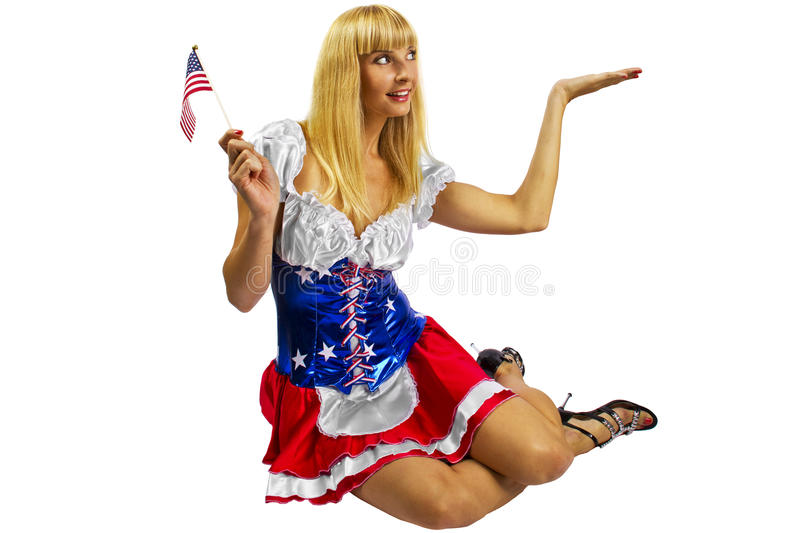 Download Patriotic American Girl With Two Flags Stock Photo - Image: 25558378