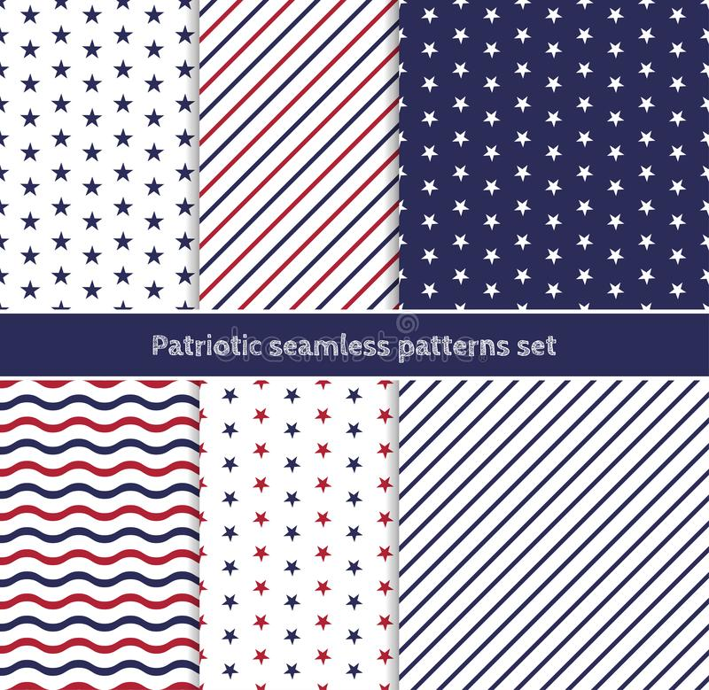 Patriotic American seamless patterns set with stripes and stars in traditional red, blue and white colors. Independence Day 4th July celebration concept stock illustration