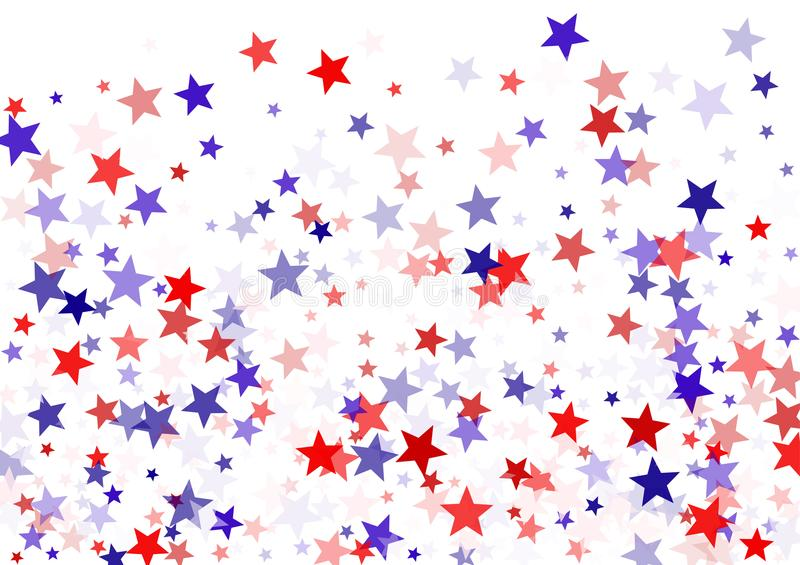 Patriotic American stars confetti on white. USA Independence Day banner background vector illustration. Blue and red 4th of July Independence American sparkle stock illustration