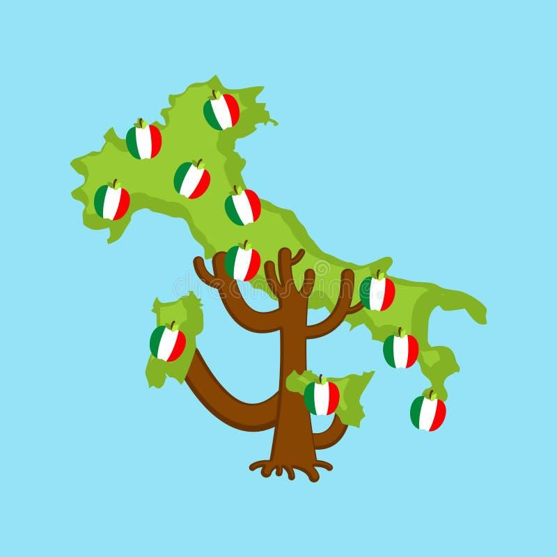 Patriotic apple tree Italy map. apples Italiann flag. vector illustration