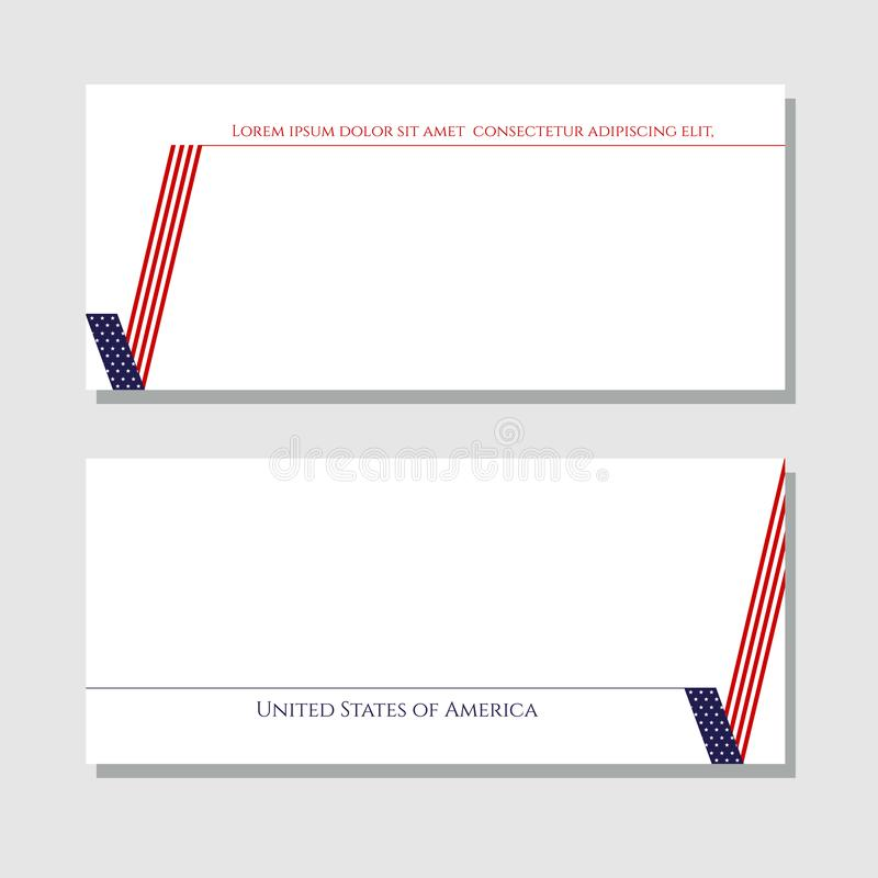 Patriotic background check mark card with American flag Design element for templates layouts cards banners brochures Patriotic stock illustration