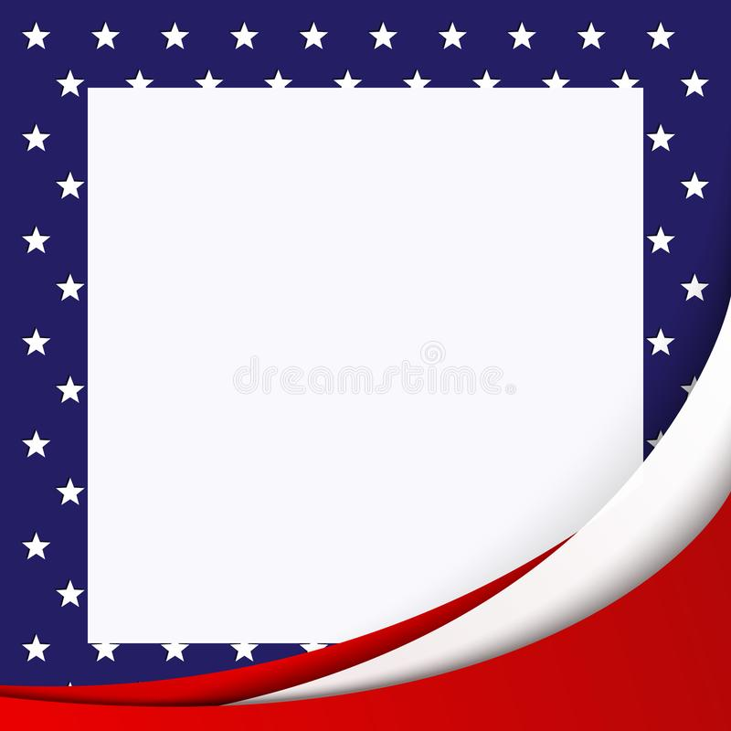Patriotic background of colors of the national flag of the United States flowing abstract lines White leaf on a stars background. Patriotic background of colors royalty free illustration