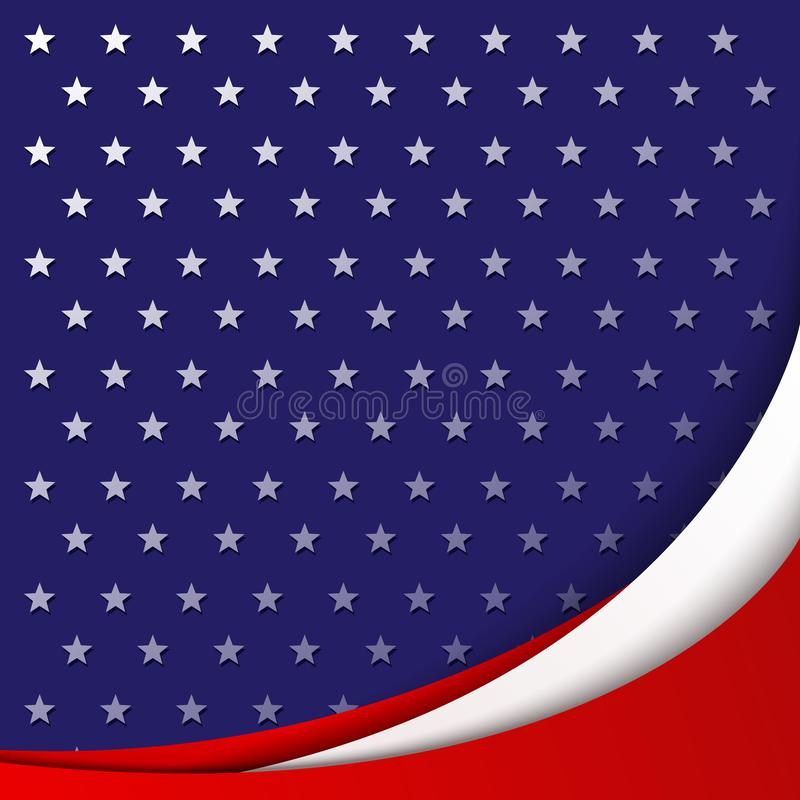 Patriotic background of colors of the national flag of USA smooth abstract wavy lines on the background of the pattern of stars. Patriotic background of colors royalty free illustration