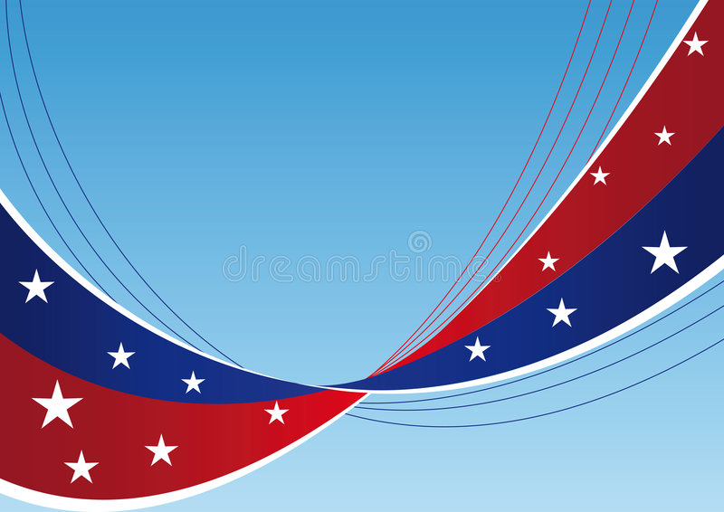 Patriotic background - Stars and stripes. Patriotic background - abstract waves and lines with stars and stripes vector illustration