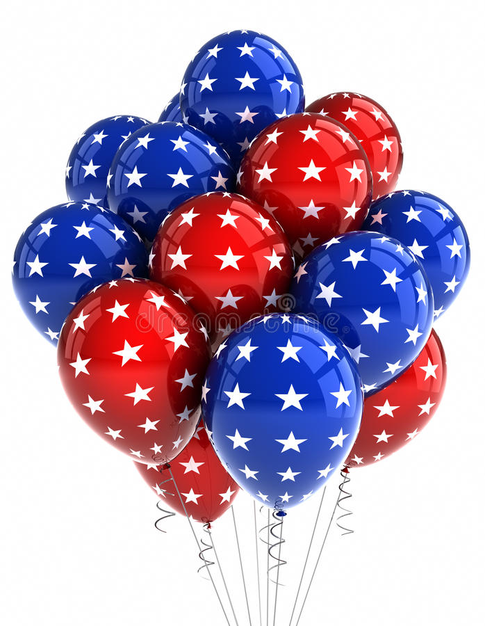 Patriotic balloons. American patriotic balloons in traditional colors over white vector illustration