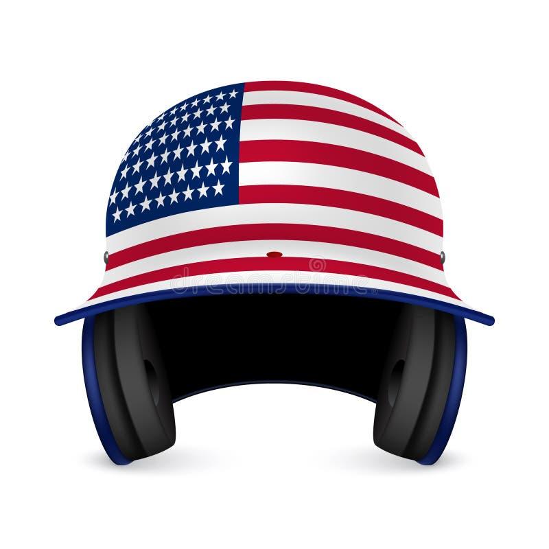 Patriotic baseball helmet - US flag vector illustration