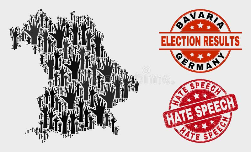 Collage of Vote Bavaria Land Map and Grunge Hate Speech Watermark royalty free illustration