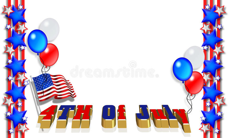 Patriotic Border 4th of July. 3 Dimensional illustration of Stars and Stripes for 4th of july patriotic border or background with balloons, American flag, text vector illustration