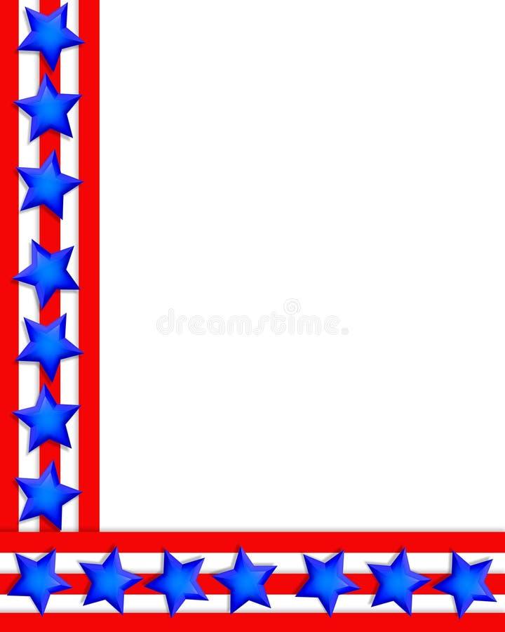 Patriotic Border 4th of July stars stripes stock photos
