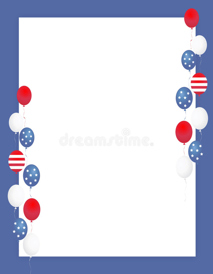 Patriotic border / balloons. Blue and red patriotic stars and stripes balloons page border / frame design royalty free illustration