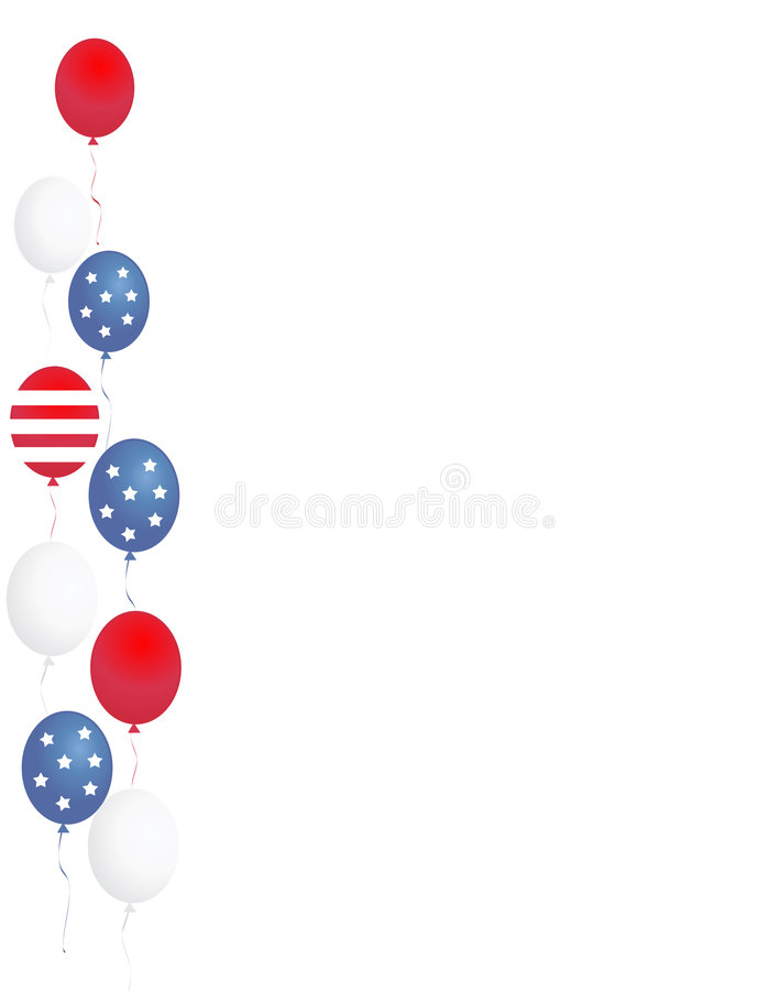 Patriotic border / balloons. Blue and red patriotic stars and stripes balloons page border / corner design stock illustration