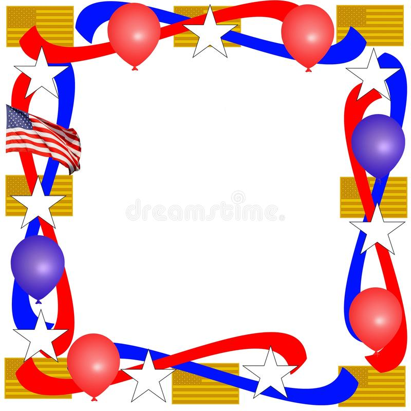 Patriotic Border. With flags, balloons, streamers, and stars royalty free illustration
