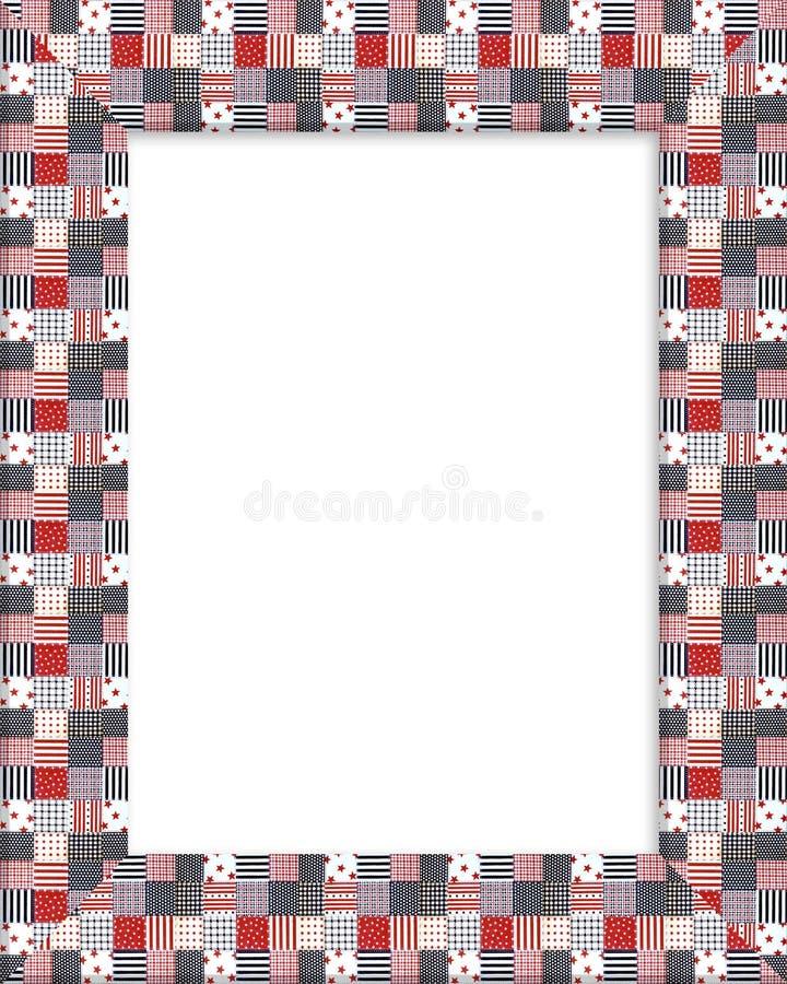 Patriotic border patchwork frame stock illustration