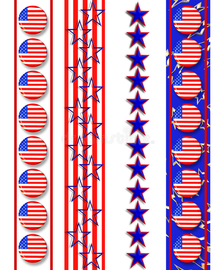 Patriotic borders 4th of July stock illustration