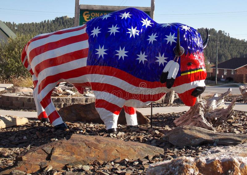Patriotic Buffalo in South Dakota stock photography