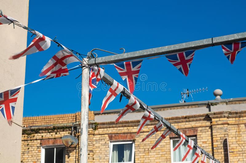 Patriotic bunting displaying in an urban setting royalty free stock photos