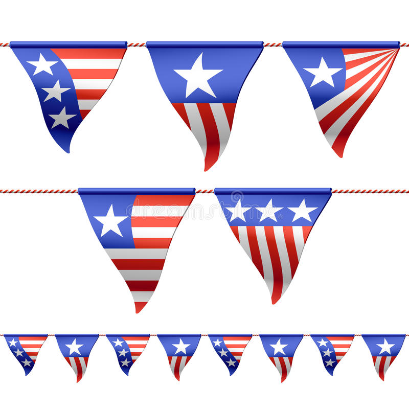 patriotic bunting flags stock vector illustration of line