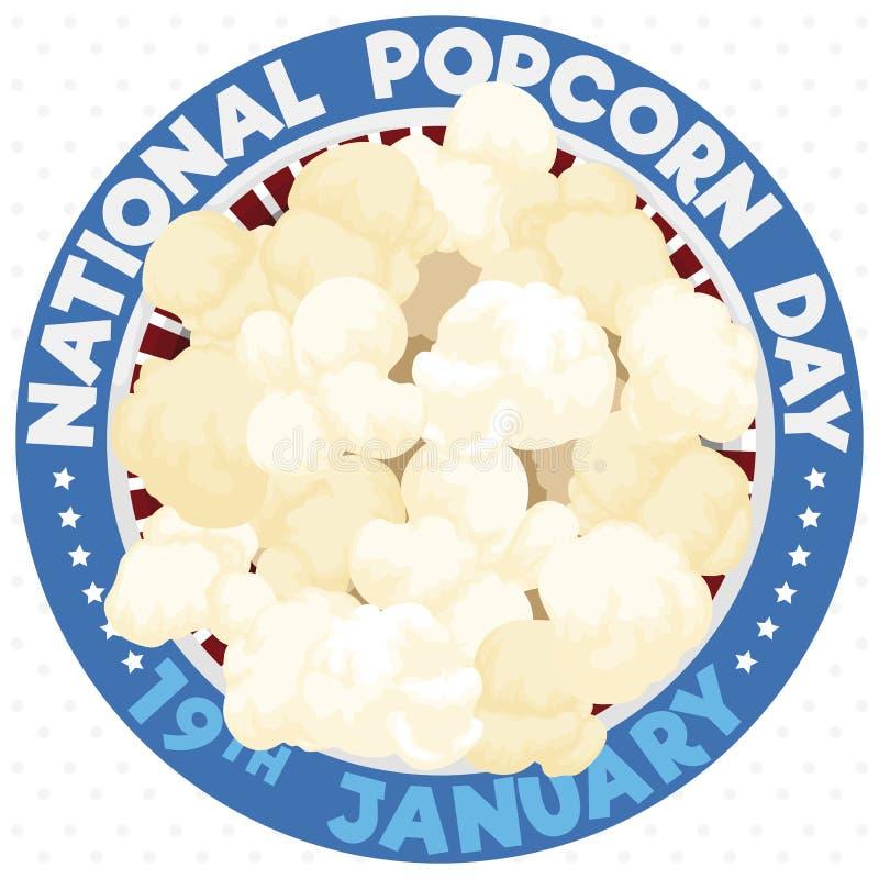 Patriotic Button med Popcorn-basket för att främja sin nationaldag, vektorillustration royaltyfri illustrationer