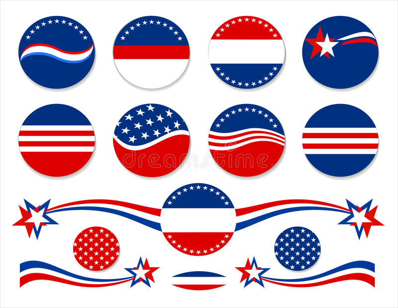 Patriotic Buttons - USA royalty free stock photo