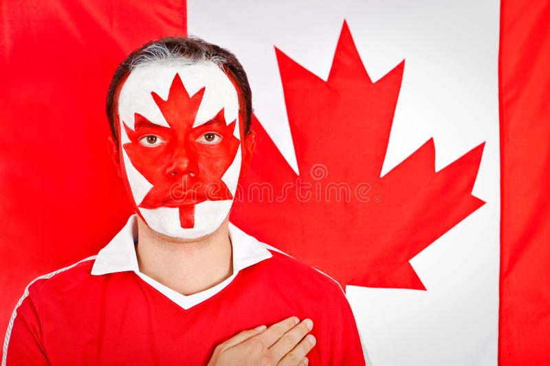Download Patriotic Canadian man stock image. Image of face, canada - 21022019