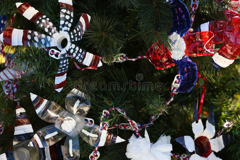 Patriotic christmas tree in fort Myers, Florida, usa. A view in FORT MYERS, UNITED STATES, NOVEMBER 25, 2017 : patriotic decorated christmas tree , november 25 royalty free stock photo