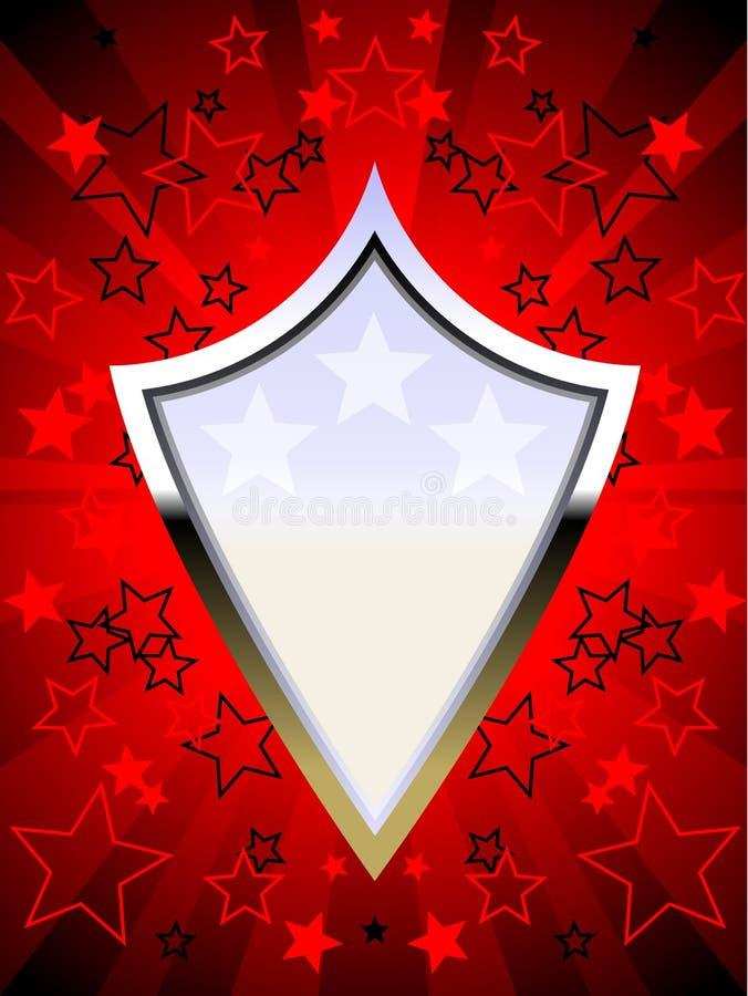 Patriotic chrome shield red royalty free illustration