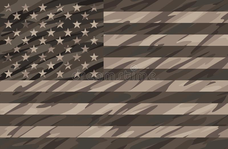 Patriotic Desert Tan Camo USA Flag Vector Illustration stock illustration
