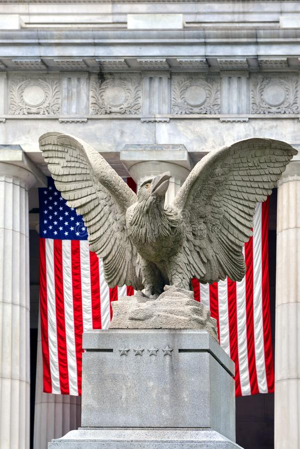 Patriotic Eagle and American Flag at Grant`s Tomb in Morningside Heights, Upper Manhattan in New York City stock image