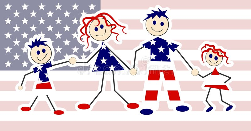 Patriotic Family royalty free illustration