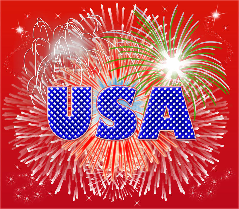 Patriotic Fireworks stock illustration
