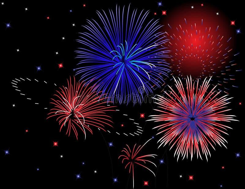 Patriotic Fireworks Display vector illustration